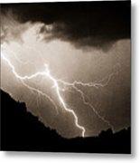 Mono Tone Lightning Striking The Ridge Metal Print