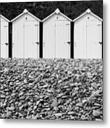 Monochrome Beach Huts Metal Print