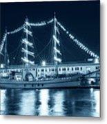 Monochrome Blue Boston Tall Ships At Night Boston Ma Metal Print