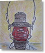 Monon Red Globe Railroad Lantern Metal Print