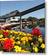 Monorail At Disney's Epcot Metal Print