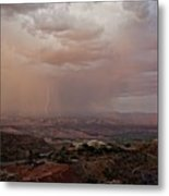 Monsoon Lightning And Rainbow Metal Print