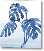 Monstera Leaf-blue Metal Print