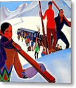 Mont Blanc, Mountain, France, Skiing Metal Print