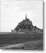 Mont Saint Michel Black And White Metal Print