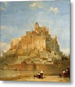 Mont St Michel From The Sands By David Roberts Metal Print