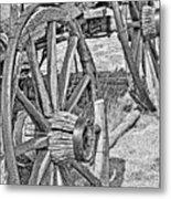 Montana Old Wagon Wheels Monochrome Metal Print