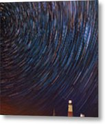 Montauk Star Trails Metal Print
