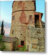 Montefollonico Stone Tower And Fortress Metal Print
