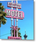 Monterey Motel Sign And The Stratosphere Metal Print