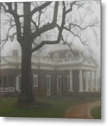 Monticello In The Fog Metal Print