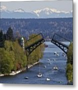 Montlake Bridge And Cascade Mountains Metal Print by C. Chase Taylor