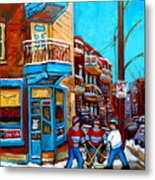 Montreal City Scene Hockey At Wilenskys Metal Print