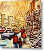 Montreal City Scene In Winter Metal Print