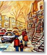 Montreal City Scene In Winter Metal Print