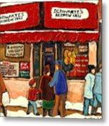 Montreal Hebrew Delicatessen Schwartzs By Montreal Streetscene Artist Carole Spandau Metal Print