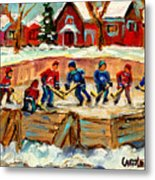 Montreal Hockey Rinks Urban Scene Metal Print