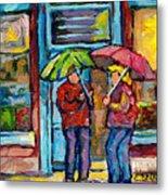 Montreal Rainy Day Paintings April Showers Umbrella Conversation At Wilensky's Deli C Spandau Quebec Metal Print