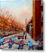 Montreal Street Hockey Game Metal Print