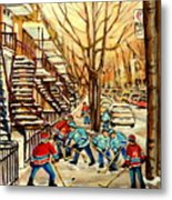 Montreal Street Hockey Paintings Metal Print