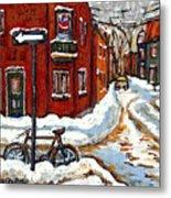 Montreal Street In Winter La Ville En Hiver Buy Montreal Paintings Petits Formats Peintures A Vendre Metal Print