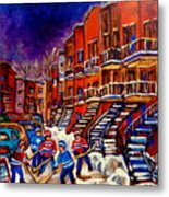 Montreal Street Scene Paintings Hockey On De Bullion Street   Metal Print