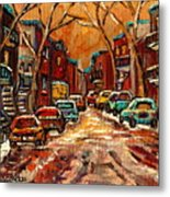 Montreal Streets In Winter Metal Print
