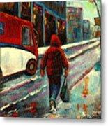 Montreal Streets Winter Morning Metal Print