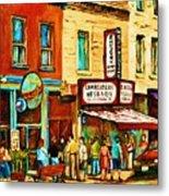 Montreal Streetscene Artist Carole Spandau Paints Schwartzs Main Street Hustle Bustle Metal Print