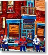 Montreal Wilensky Deli By Carole Spandau Montreal Streetscene And Hockey Artist Metal Print