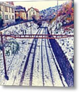 Montreux, Tracks In The City. Metal Print