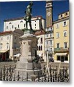 Monument And Statue Of Giuseppe Tartini At Tartini Square Piran  Metal Print