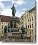 Monument To Emperor Franz I, Innerer Burghof In The Hofburg Imperial Palace. Vienna, Austria. Metal Print
