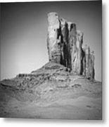 Monument Valley Camel Butte Black And White Metal Print