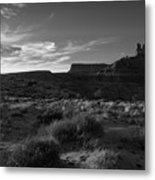 Monument Valley View - Black And White Metal Print