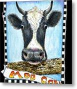 Moo Cow In Black Metal Print