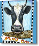 Moo Cow In Blue Metal Print