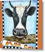 Moo Cow In Orange Metal Print