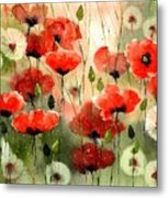 Moody Poppies In The Afternoon Metal Print