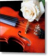 Moody Violin And Rose  Metal Print