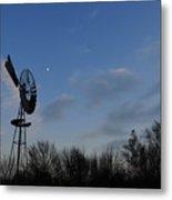 Moon And Windmill Metal Print