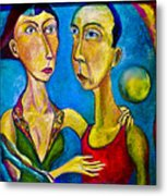 Moon Couple Metal Print