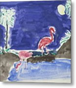 Moon Evening.flamingo. Water Color 1995 Metal Print