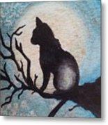 Moon Kitty Metal Print