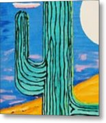 Moon Light Cactus L Metal Print