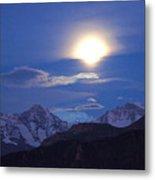 Moon Light Over The Alps Metal Print