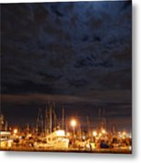 Moon Over Fishermans Terminal Metal Print