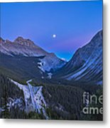 Moon Over Icefields Parkway In Alberta Metal Print