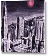 Moon Over Manhattan Metal Print