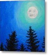 Moon Over Pines Metal Print